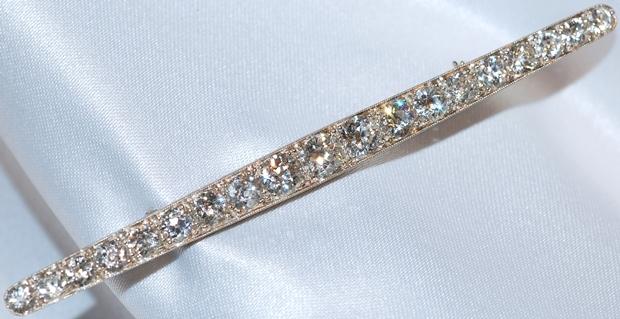 #330 Platinum 7.08ct Diamond Bar Pin