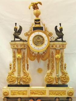 French Marble & Gilt Ormolu Clock