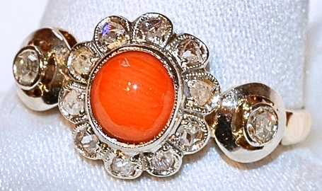 #142 18k Antique Coral & Diamond Ring WE