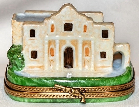 Alamo Limoges Box with Cannons & Flag