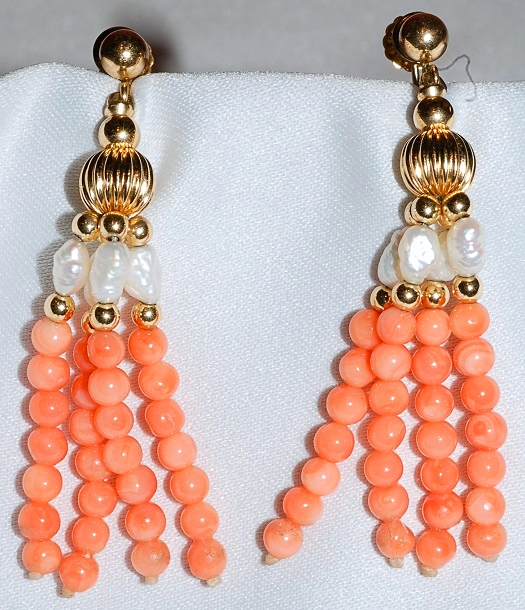#757 - Angel Skin Coral & Pearl Earrings