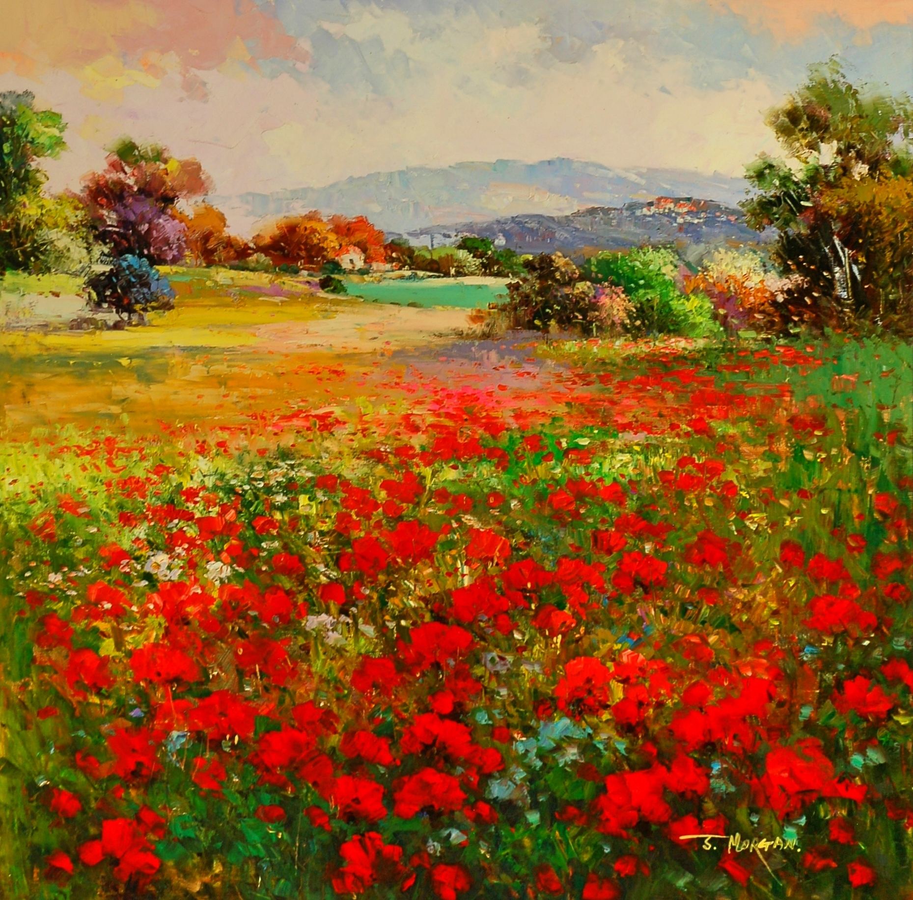 """Tuscany Poppies"" Oil by J. Morgan"