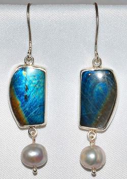Sterling Pearl Spectrolite Earrings WEB.