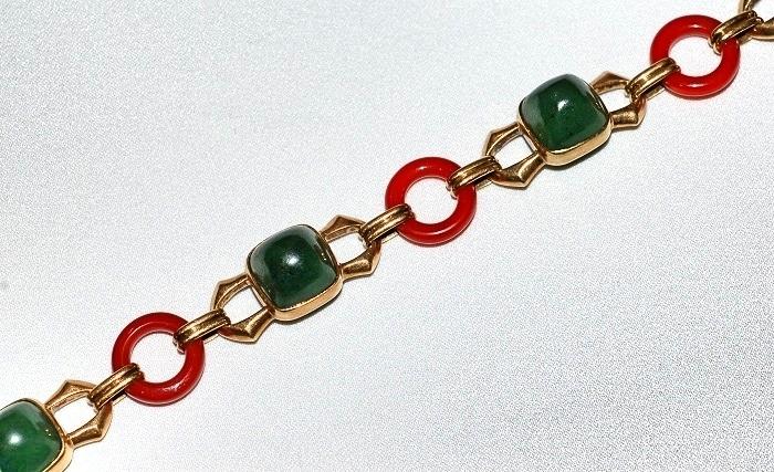 #411 14k Jade & Carnelian Bracelet