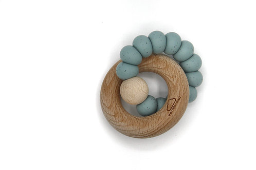 Beißring Silikon Holz natur jade