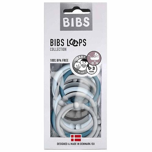 BIBS Loops Kunststoffringe Kinderwagenbefestigung Blue/Cloud/Petrol