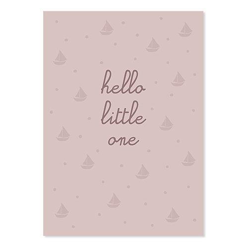 """ava und yves Postkarte zur Geburt """"Hello little one"""" rosa"""