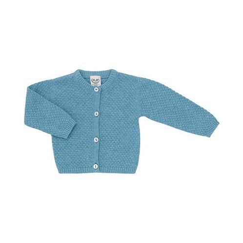 Puri Organic Bio Baby Strickjacke Baumwolle Leinen bristol blue