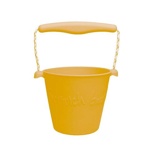 Scrunch Silikon Eimer faltbar mustard gelb