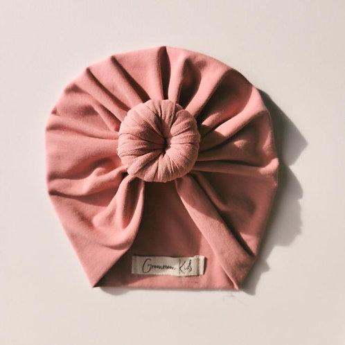 Greenmoonkids Bio Turbanmütze mit Knoten rosé