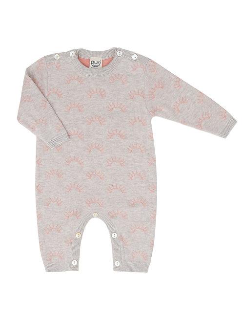 Puri Organic Baby Overall Bio Baumwolle Seide grau koralle