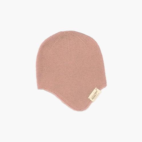 Bio Babymütze mit Ohrenklappen 100% Merinowolle puder
