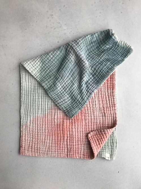 Babydecke Musselin Mullstoff 6 lagig Batik handmade sage