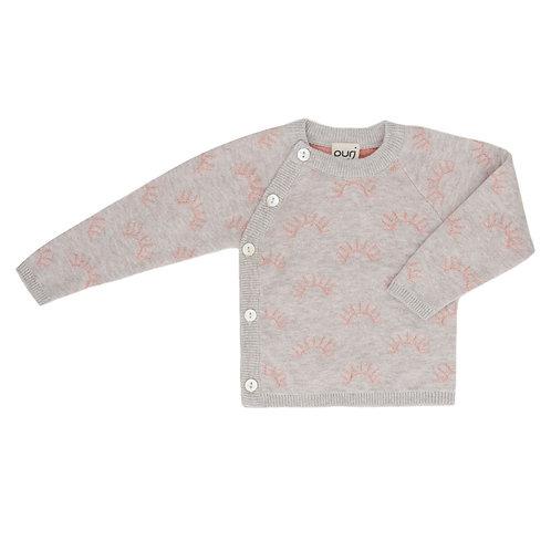 Puri Organic Baby Kimono Schlüttli Jäckchen Bio Baumwolle Seide grau Koralle