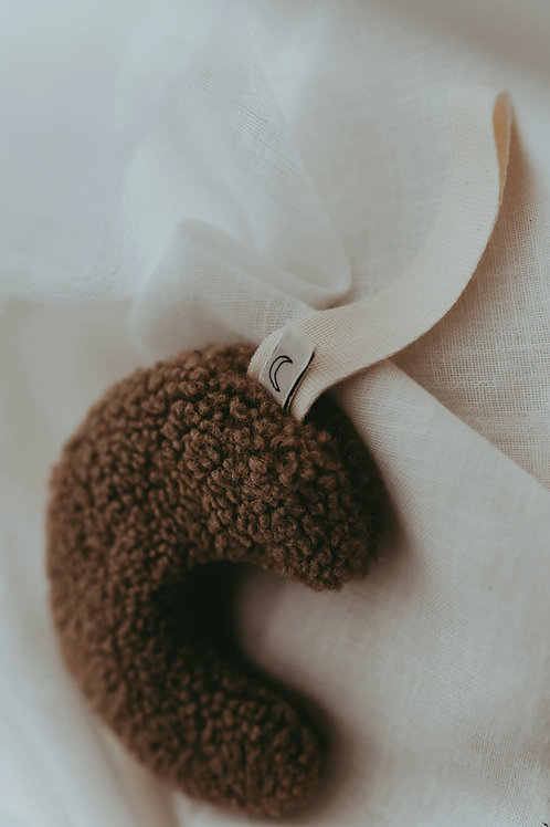 "Dappermaentje Schnulleranhänger Mond ""Teddy"" braun coffee"