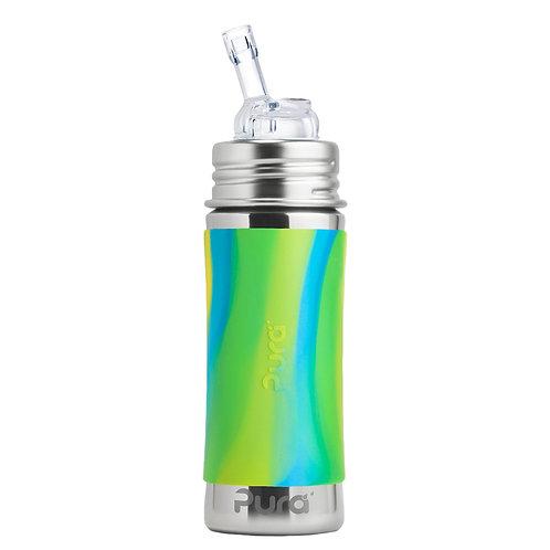"""Pura Kiki 325 ml Trinkflasche mit Strohhalm Trinklernflasche """"aqua swi"""