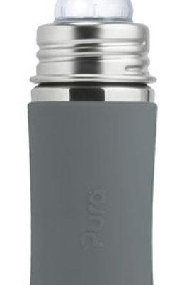 Pura Kiki 325 ml Babyflasche Trinkflasche Edelstahl mit Sleeve grau