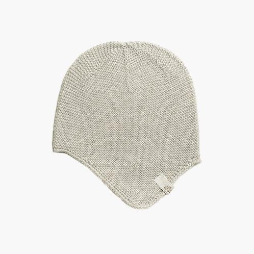 Bio Babymütze mit Ohrenklappen 100% Merinowolle stein