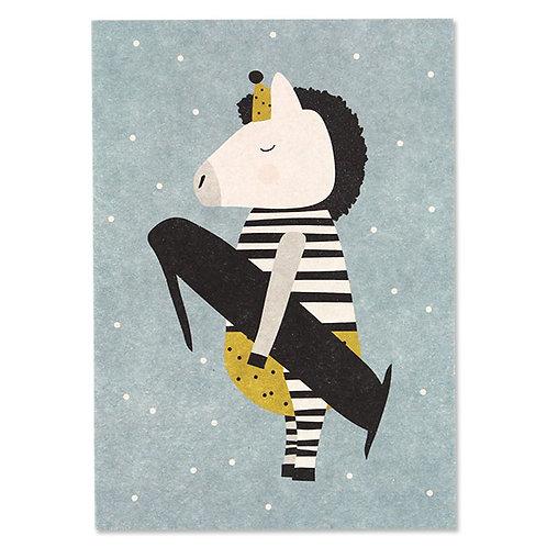 ava und yves Postkarte Erster Geburtstag  Zebra 1
