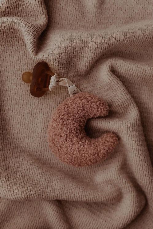 """Dappermaentje Schnulleranhänger Mond """"Teddy"""" rosa"""