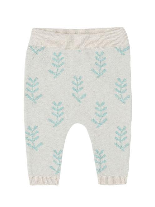 Puri Organic Baby Hose mit weichem Bund Bio Baumwolle Seide Leaves natur gruen
