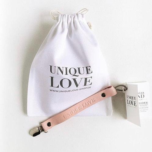 Unique Love Schnullerkette Bio Leder rose rosa
