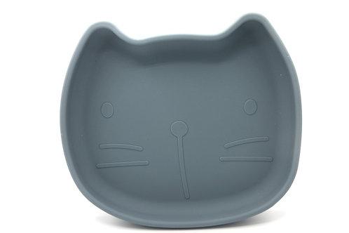 Kinderteller aus Silikon mit Saugfuß Katze Pippa smokey blue