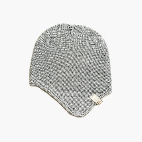 Bio Babymütze mit Ohrenklappen 100% Merinowolle grau