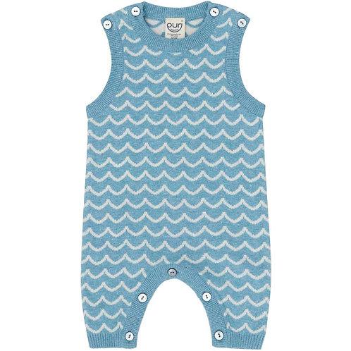 Puri Organic Bio Baby Spieler Baumwolle Leinen blau ecru