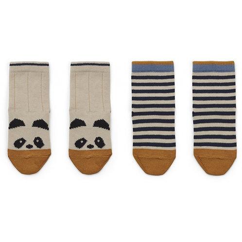 """Liewood  Socken """" Silas Panda Stripe Ecru"""" 2er Pack"""