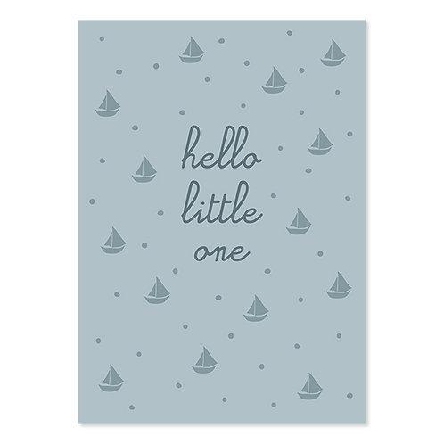 ava und yves Postkarte zur Geburt Hello Little One blau