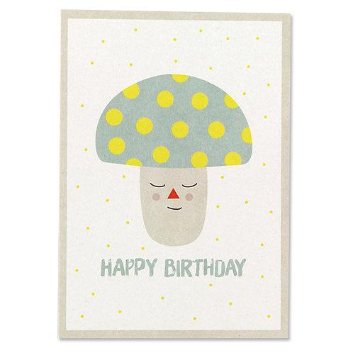 """ava und yves Postkarte Geburtstag  """"Happy Birthday"""" Pilz"""
