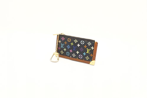 Louis Vuitton Pochette Cles in Black Multicolore Monogram Canvas