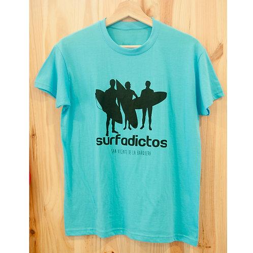 Camiseta SURFADICTOS azul turquesa