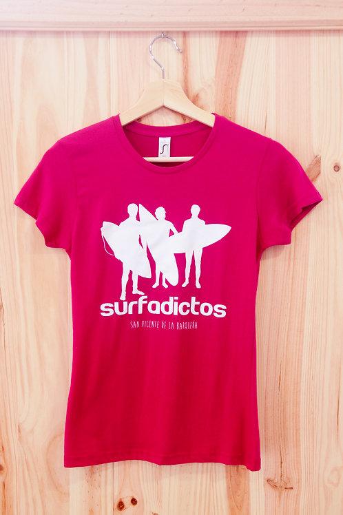 Camiseta de chica SURFADICTOS rosa