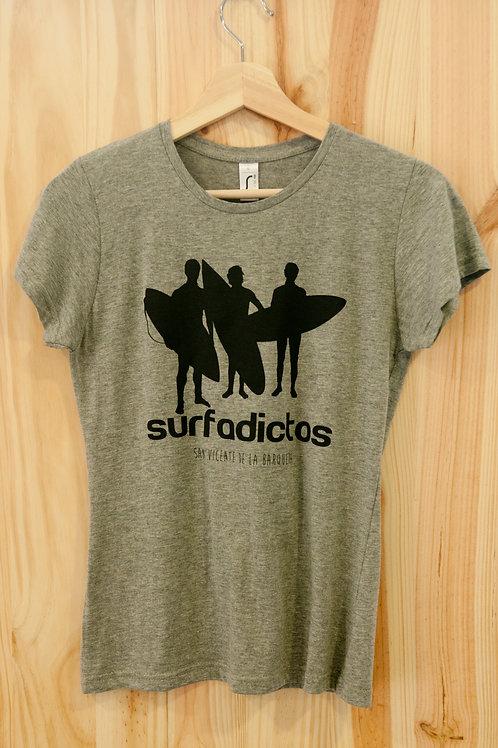 Camiseta de chica SURFADICTOS gris mezcla