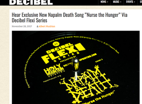 "Hear Exclusive New Napalm Death Song ""Nurse the Hunger"" Via Decibel Flexi Series"