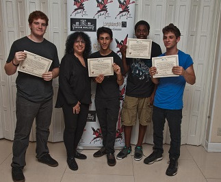 Teen band The Little Red Men, receiving Community Service Award Certificates  at The 1st Annual STRONG BEACH® Battle of The Bands, 2014