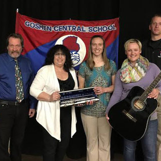 Joanne J-Bird Phillips donates an Armstrong Flute and New Guitar to Goshen Central High School,  Goshen NY, on behalf of J-Bird Music for The Arts, Inc. 4/24/2015  Story: http://www.gcsny.org/News/2014_15/4_28_donation.cfm#.VURGe3rBPPs.email