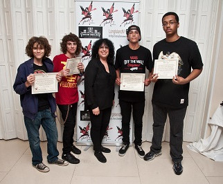 Teen band Bailout 42 receiving Community Service Award Certificates at  The 1st Annual STRONG BEACH® Battle of The Bands, 2014