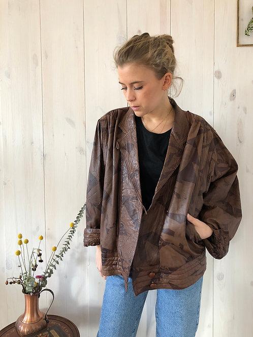 Vintage Lederjacke Leatherjacket Braun Puffärmel 80's 90's (L)
