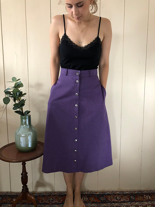 Vintage Highwaist Button Down Midi Rock Lila 80's 90's (S)