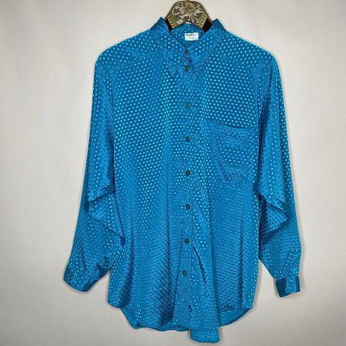 Vintage Retro Bluse Blau/Türkis Schimmernd 80's 90's (XL)