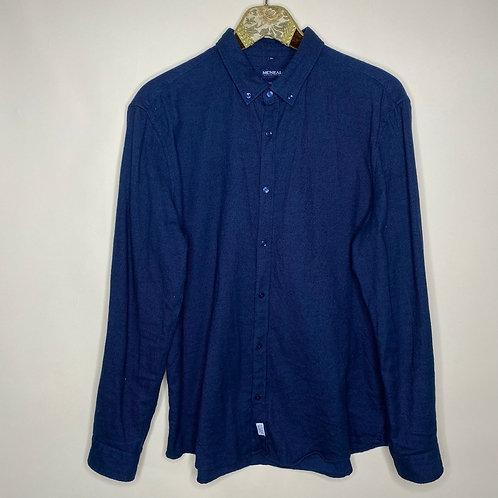 Vintage Hemd Baumwolle Dunkelblau Unisex 80's 90's (M-L)