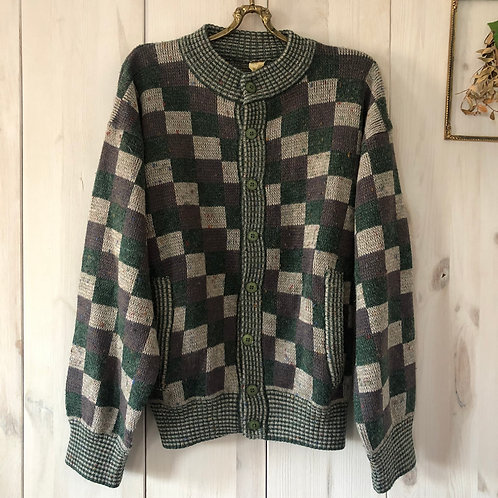 Vintage Checkered Woll Cardigan 80's 90's (S)