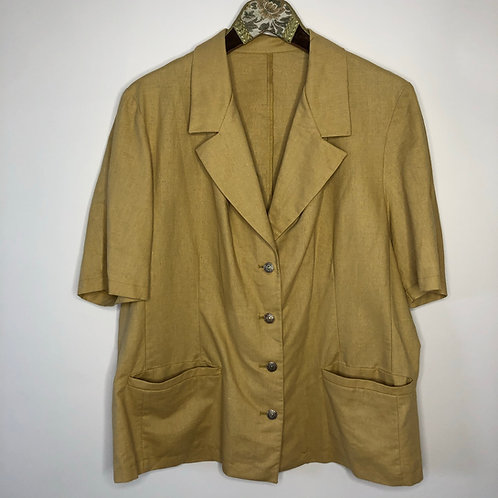 Vintage Blazer Leinen Senfgelb Kurzarm 80's 90's (L)