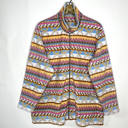 Vintage Fleece Jacke Muster Unisex 80's 90's (XL-XXL)
