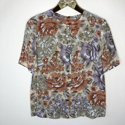 Vintage Bluse kurzarm Blumen Seide 80's 90's (XS-S)