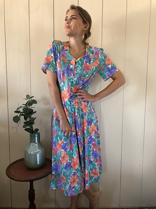 Vintage Button Down Blumen Kleid 80's 90's (S-M)