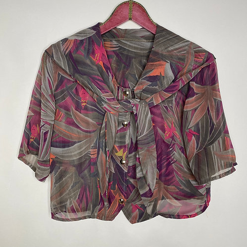 Vintage Bluse Blatt Muster 80's 90's (M)